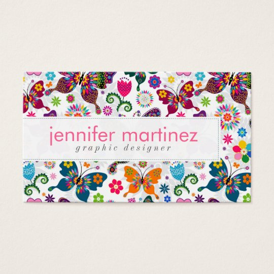 Colourful Retro Butterflies And Flowers Pattern Business Card