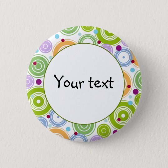 Colourful retro design 6 cm round badge