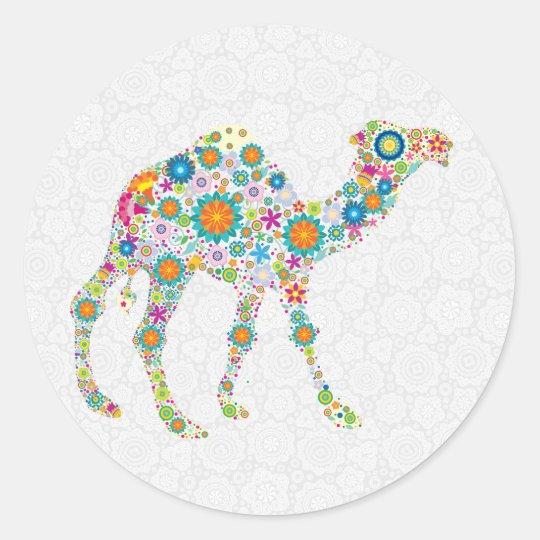Colourful Retro Floral Camel & White Damasks Round