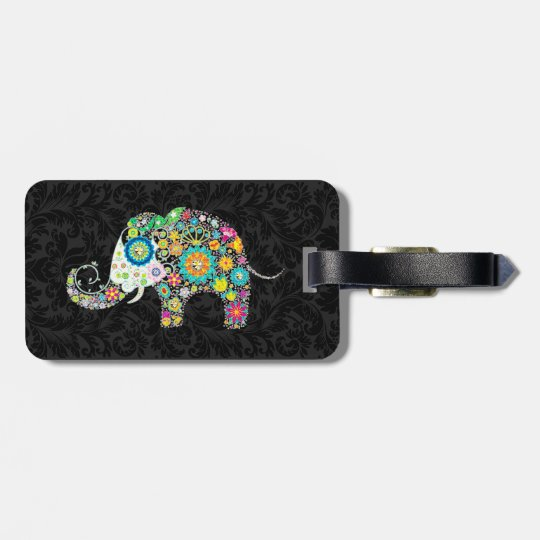 Colourful Retro Floral Elephant & Black Damasks 2