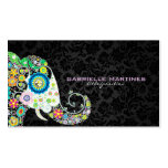 Colourful Retro Floral Elephant & Black Damasks Pack Of Standard Business Cards