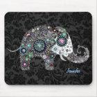 Colourful Retro Floral Elephant & Diamonds 2 Mouse Mat