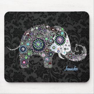 Colourful Retro Floral Elephant & Diamonds 2 Mousemat