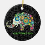 Colourful Retro Floral Elephant Illustration Round Ceramic Decoration