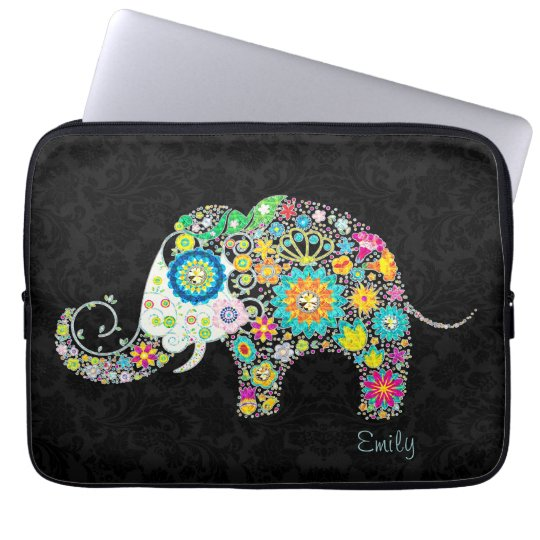 Colourful Retro Floral Elephant Laptop Sleeve