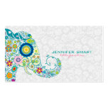 Colourful Retro Floral Elephant & White Damasks Pack Of Standard Business Cards
