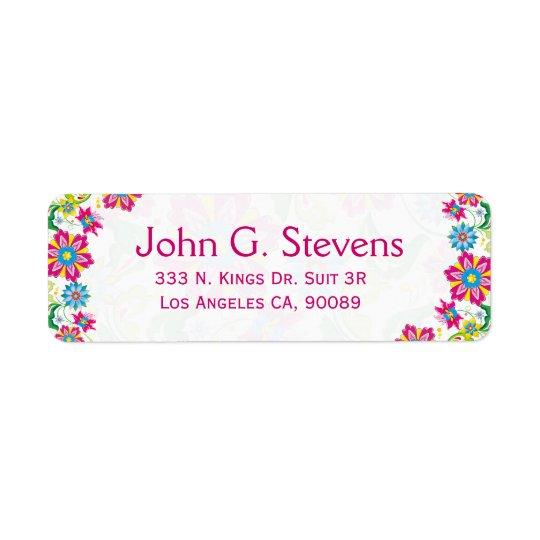 Colourful Retro Floral Frame Return Address Label