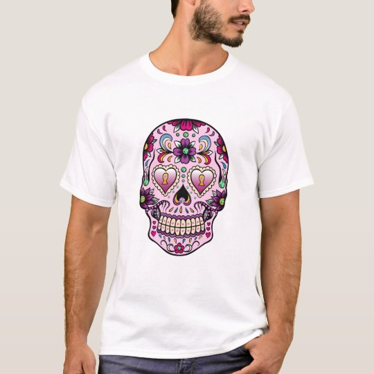 Colourful Retro Floral Sugar Skull Pink Tint T-Shirt