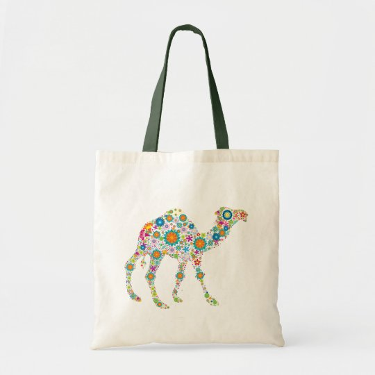 Colourful Retro Flower Camel Tote Bag