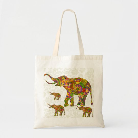 Colourful Retro Flower Elephant 4 Tote Bag