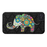 Colourful Retro Flower Elephant Design