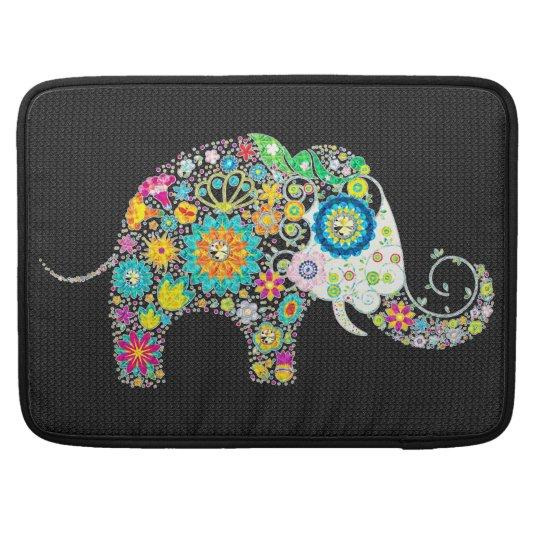 Colourful Retro Flower Elephant Design 2 Sleeve For MacBook Pro