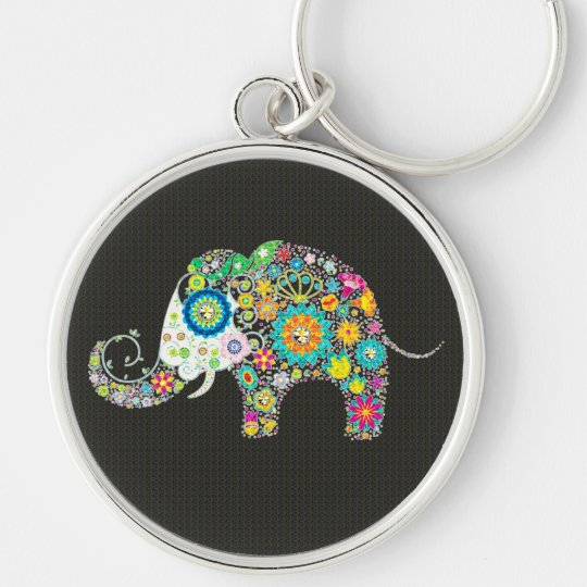 Colourful Retro Flower Elephant With Diamond Studs Silver-Colored Round Key Ring