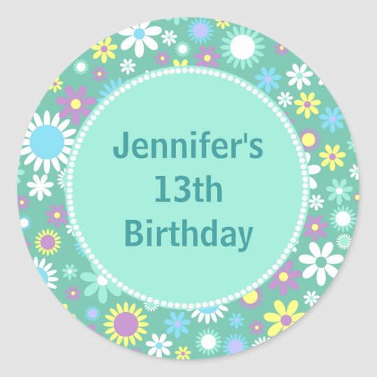 Colourful Retro Flowers Custom Birthday Classic Round Sticker