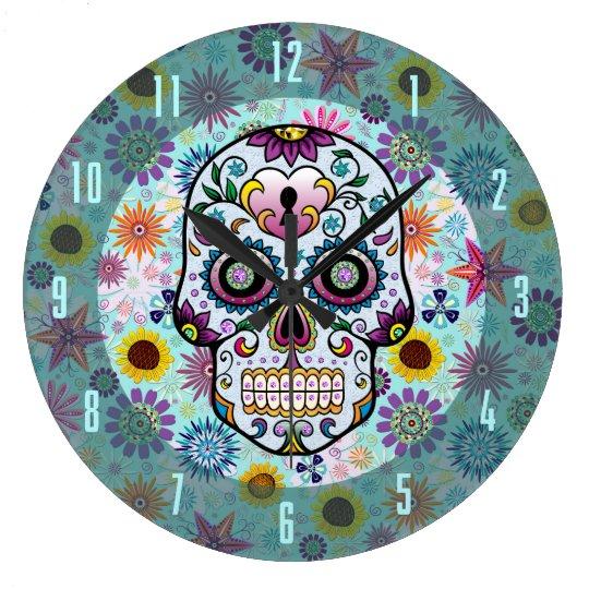 Colourful Retro Flowers & Diamonds Skull Design Large