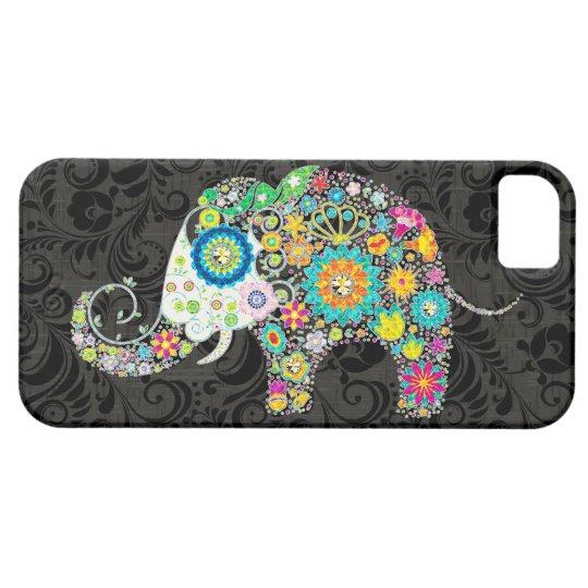 Colourful Retro Flowers Elephant Design iPhone 5 Cover