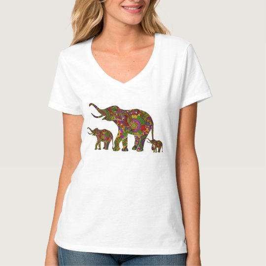 Colourful Retro Flowers Elephant Family 3 T-Shirt