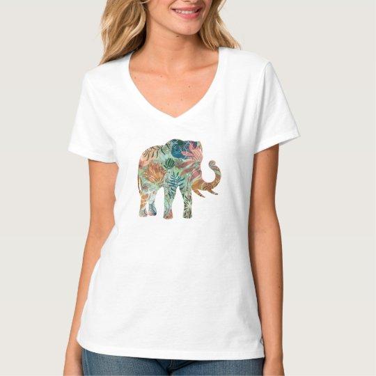 Colourful Retro Flowers Elephant T-Shirt