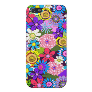 Colourful retro flowers iPhone 5/5S cover