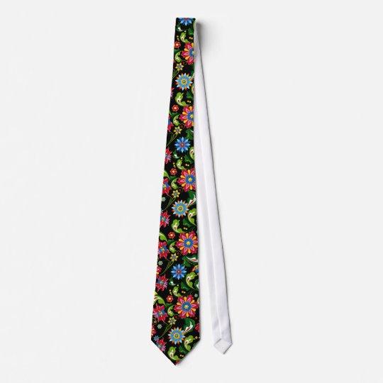 Colourful Retro Flowers Pattern On Black Tie