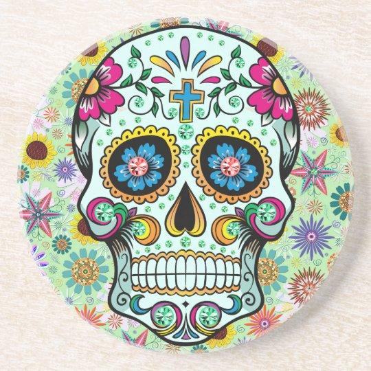 Colourful Retro Flowers Skull 3 Coaster