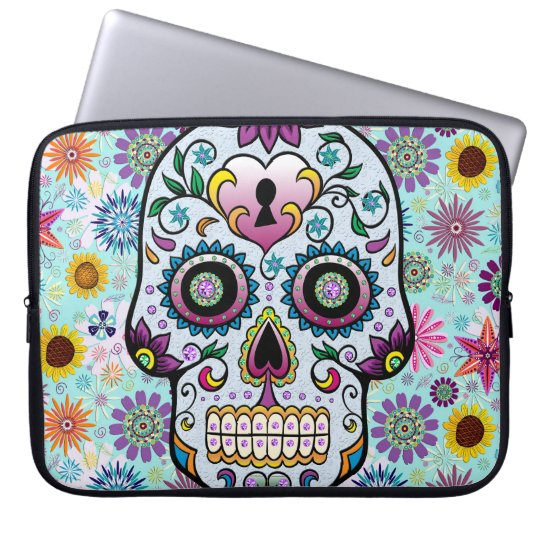 Colourful Retro Flowers Sugar Skull Laptop Sleeve