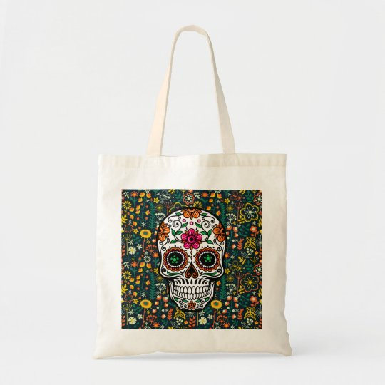 Colourful Retro Flowers & Sugar Skull Tote Bag