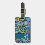 Colourful Retro Flowers with Monogram Luggage Tags