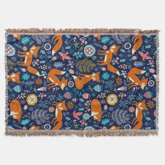 Colourful Retro Foxes And Flowers Pattern Throw Blanket