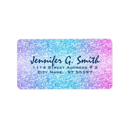 Colourful Retro Glitter And Sparkles Address Label