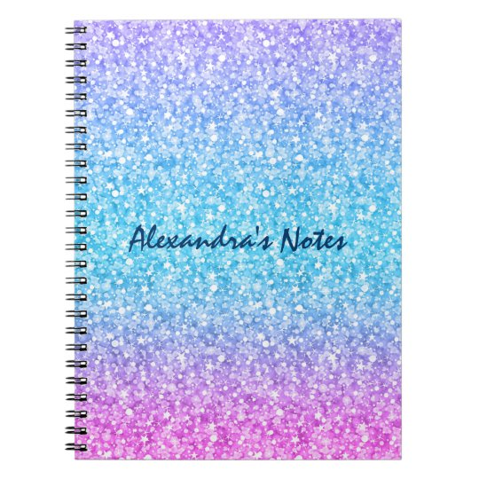 Colourful Retro Glitter And Sparkles Notebook