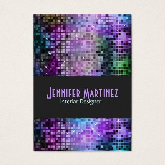 Colourful Retro Glitter Business Card