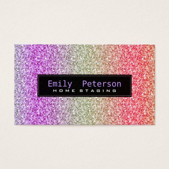Colourful Retro Glitter & Sparkles Pattern Business Card