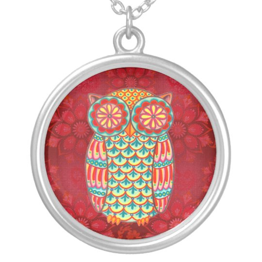 Colourful Retro Owl Necklace