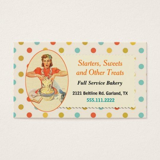 Colourful Retro Polka Dot Bakery Business Card