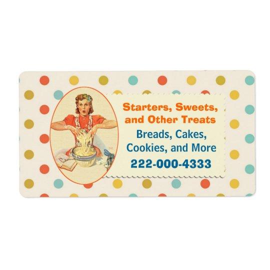 Colourful Retro Polka Dot Bakery Label