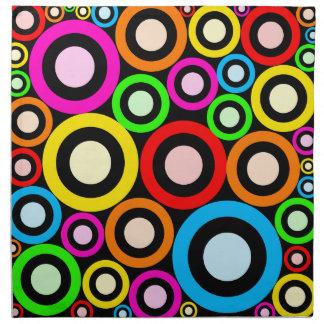 Colourful Retro Rings Wallpaper Napkin