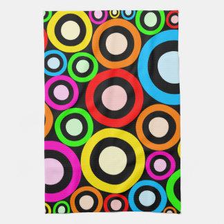 Colourful Retro Rings Wallpaper Tea Towel
