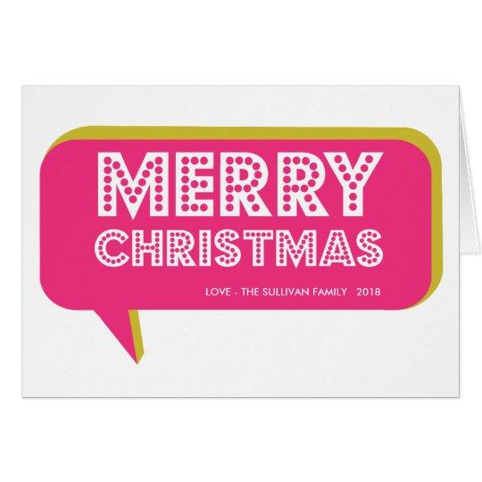 Colourful Retro Speech Bubble Merry Christmas Card
