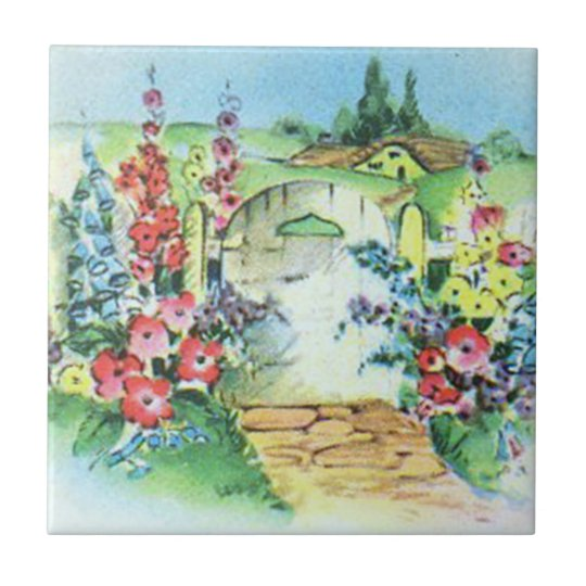 Colourful Retro Style Vintage Country Flower Tile