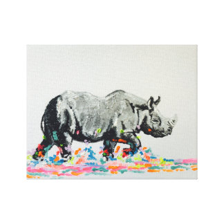 Colourful Rhino Canvas Print