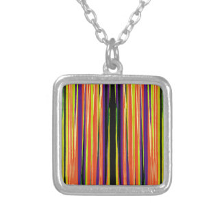 Colourful ripped paper pattern square pendant necklace