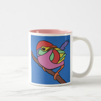 Colourful Robin Two-Tone Coffee Mug