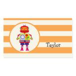Colourful Robot on Orange Stripes Pack Of Standard Business Cards