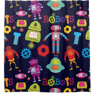 Colourful Robots, Kids Shower Curtain