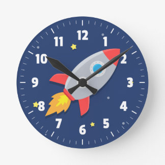 Colourful Rocket Ship Outer Space For Kids Room Wall Clock