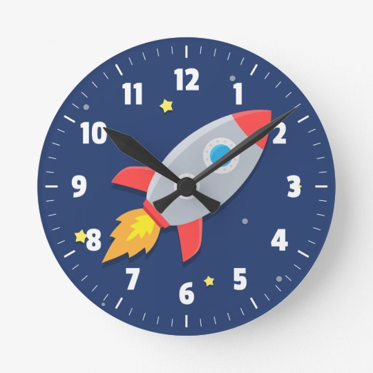 Colourful Rocket Ship Outer Space For Kids Room Round