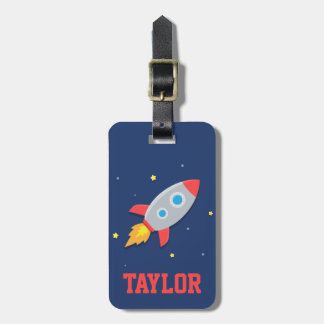 Colourful Rocket Ship, Outer Space, For Kids Travel Bag Tag