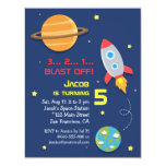 Colourful, Rocket Ship, Space Party, Kids Birthday 11 Cm X 14 Cm Invitation Card