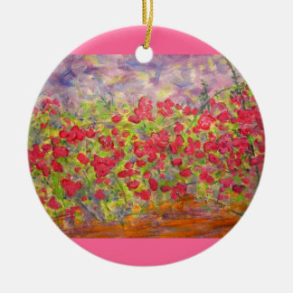 colourful roses blooming round ceramic decoration